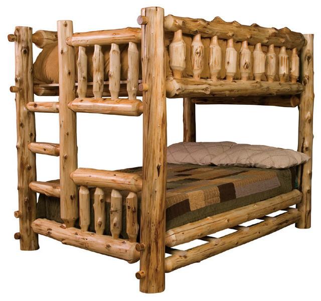 Log Bunk Bed Full Full Ladder Left Rustic Kids Beds