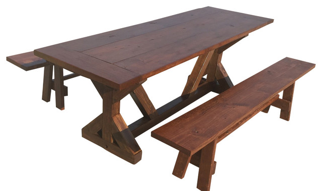 Trestle Farm Table With Benches Farmhouse Outdoor Dining Sets By