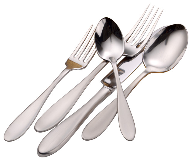 Mallory Serving Set 65 Piece Modern Flatware And Silverware Sets By Liberty Tabletop