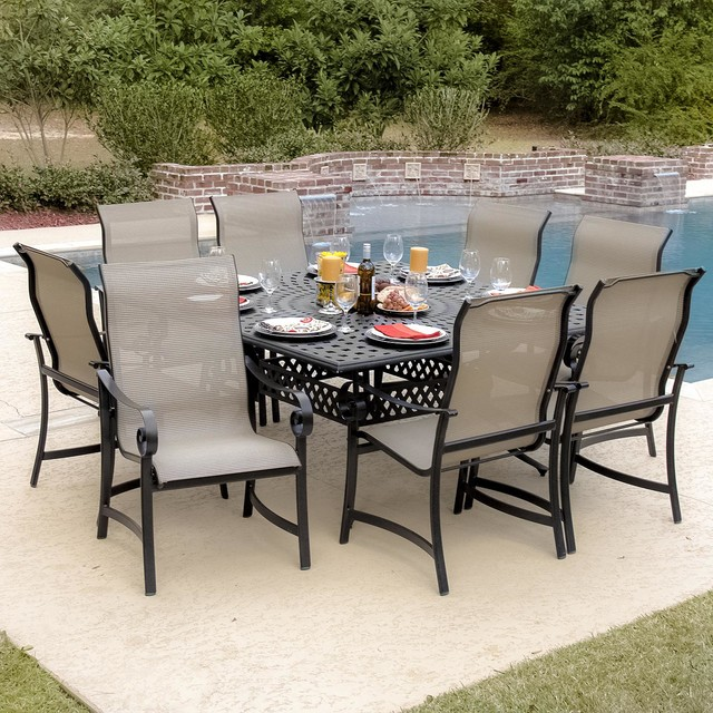 Contemporary Outdoor Dining Sets: La Salle 8-Person Sling Patio Dining Set With Cast