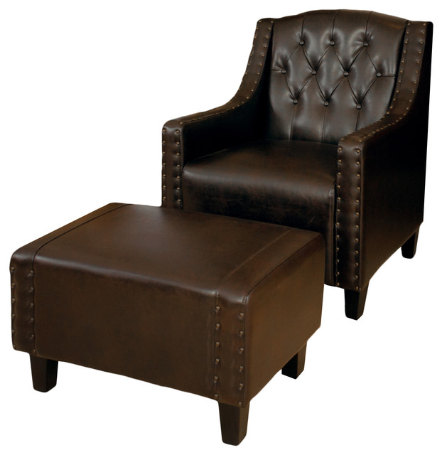 Empierre Brown Leather Club Chair And Footstool Set classico-poltrone