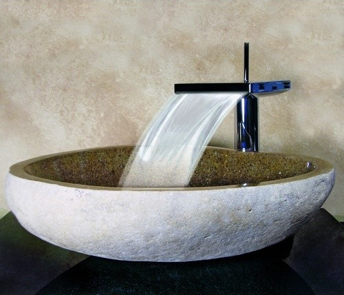Yosemite home decor hand carved boulder vessel sink sand for Bathroom designs vessel sinks