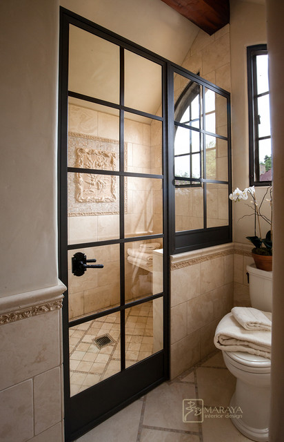 Wrought iron shower door farmhouse bathroom los