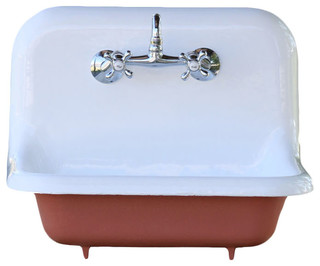 """Consigned 1932 Refinished 24"""" Small Red Earth High Back Cast Iron Farmhouse Sink - Farmhouse ..."""