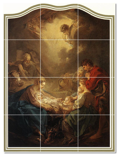 Francois boucher religious painting ceramic tile mural 14 for Ceramic mural painting