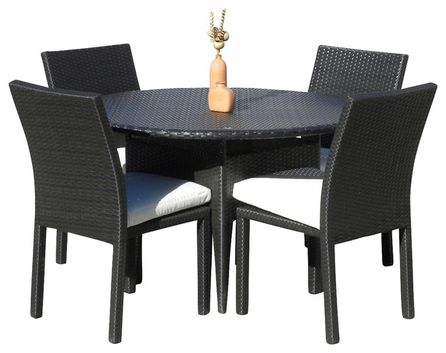 Outdoor Wicker New Resin 5 Piece Round Dining Table and