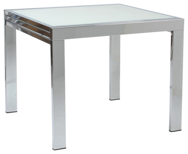 Euro style duo square table chrome base frosted glass contemporary dining tables - Frosted glass dining tables ...