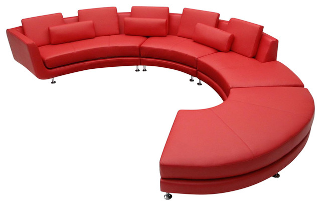 A94 Red Leather Contemporary Sectional Sofa