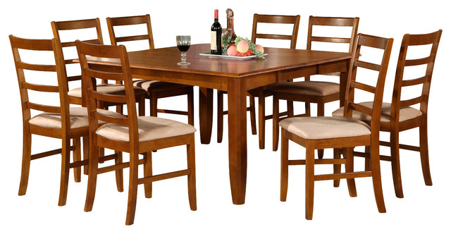 9 Piece Formal Dining Room Set Square Dining Table With Leaf And 8 Dining Cha