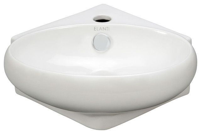 Modern Corner Sink : Porcelain Corner Wall-Mounted Oval Sink - Modern - Bathroom Sinks - by ...