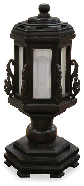 Hand carved wooden pagoda lamp asian table lamps by for Asian furniture westmont il