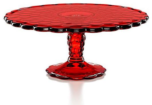Martha Stewart Collection Serveware Red Optic Glass Cake