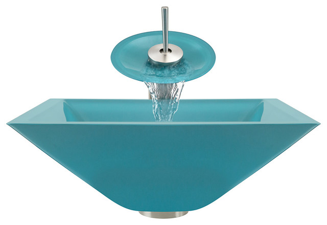 Turquoise Vessel Sink : Polaris Sinks Brushed Nickel Turquoise Square Vessel Sink and ...