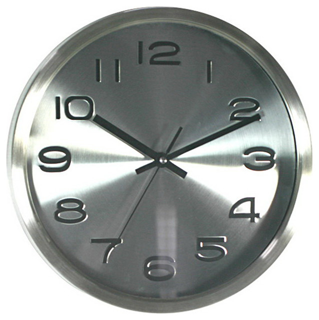 Embossed silver wall clock contemporary wall clocks for Silver wall clocks modern