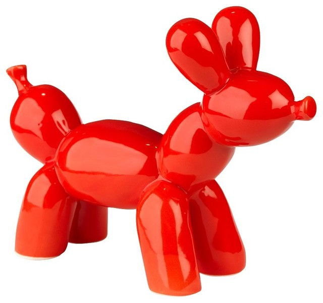 Bubble chien d coratif en c ramique rouge for Objets decoratifs salon