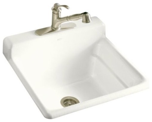 KOHLER K-6608-1-0 Bayview Self-Rimming Utility/Laundry Sink with Single-Hole Fau - Traditional ...