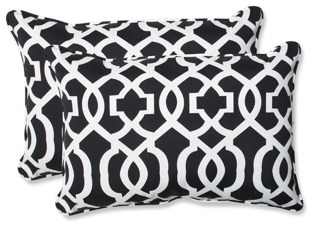 New Geo and White Oversized Rectangular Throw Pillow, Set of 2, Black - Contemporary - Garden ...
