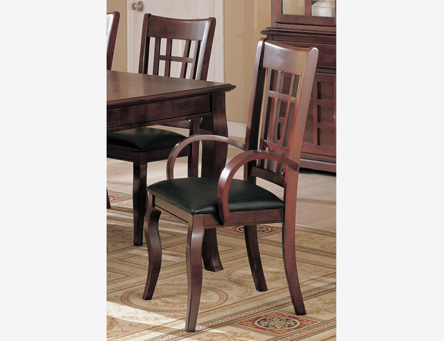 2 pc cherry wood dining arm chairs leather seat coaster 100503 for Wood dining chairs with leather seats