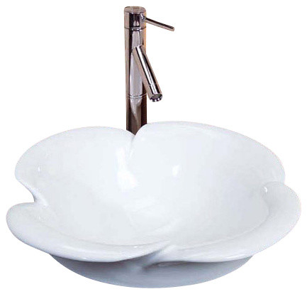 Flower Vessel Sink : Flower Porcelain Ceramic Countertop Bathroom Vessel Sink - 20-1/2 x 8 ...