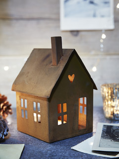 rusty house tea light lantern rustic holiday accents. Black Bedroom Furniture Sets. Home Design Ideas