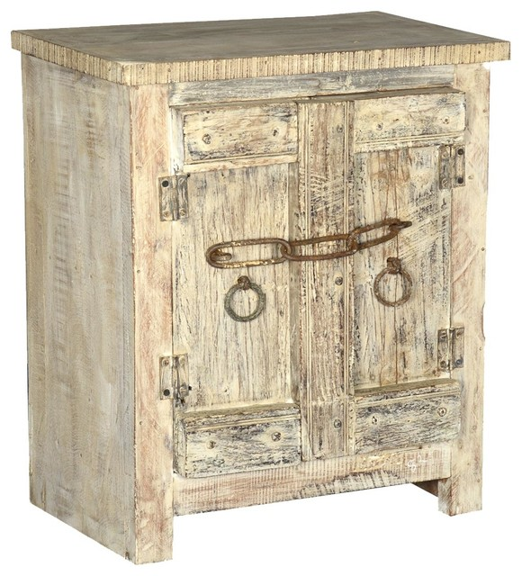 Camelot Old World Style Reclaimed Wood Accent Cabinet