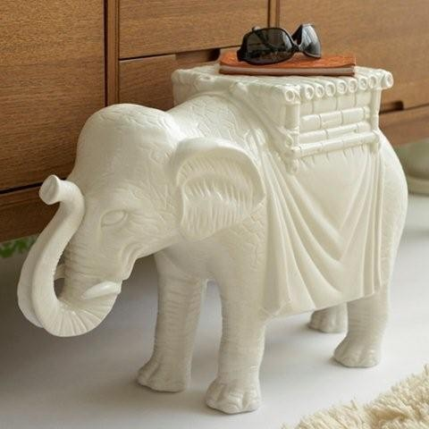 White Ceramic Elephant Side Table - Twos Company - Tonic Home - Side Tables And End Tables - by ...
