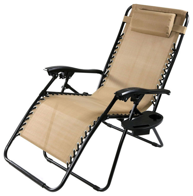 Sunnydaze Oversized Zero Gravity Lounge Chair With Pillow and Cup Holder Kha