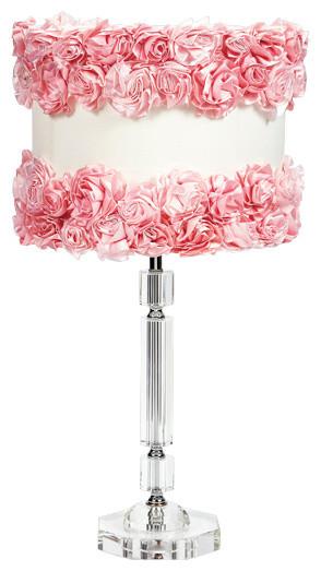 slender crystal lamp with pink rose garden shade. Black Bedroom Furniture Sets. Home Design Ideas