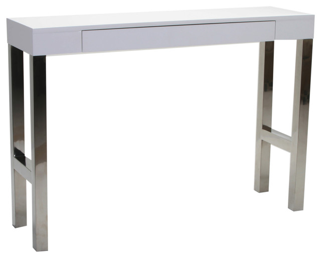Tura console table white lacquer modern console for Modern white lacquer console table