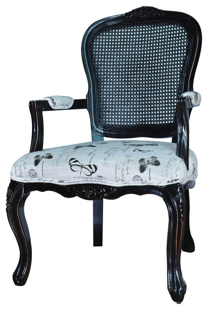 Crestview Butterfly Black And White Accent Chair