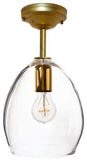 Handblown Globe Glass Brass Downrod Pendant Light No Bulb