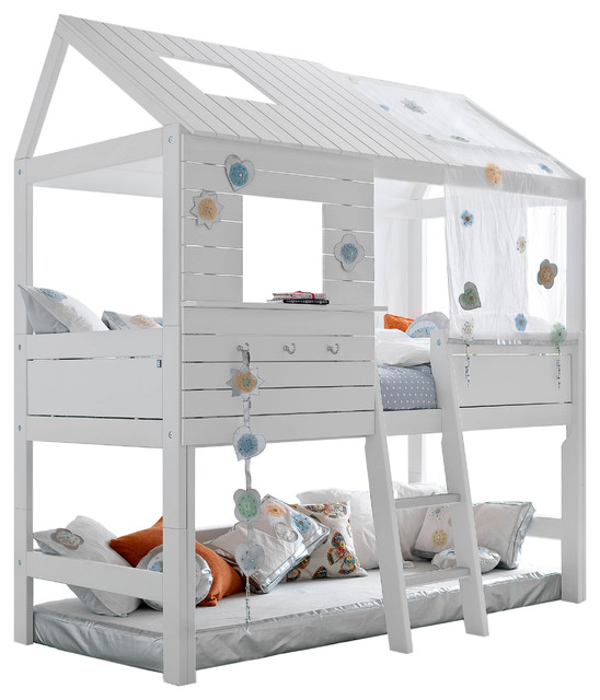 White silversparkle treehouse twin loft bed with for Treehouse toddler bed