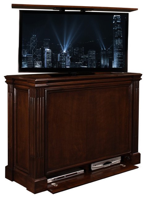 tv lift cabinet small ritz made in usa brown against wall 360 swivel nyklassisk tv. Black Bedroom Furniture Sets. Home Design Ideas