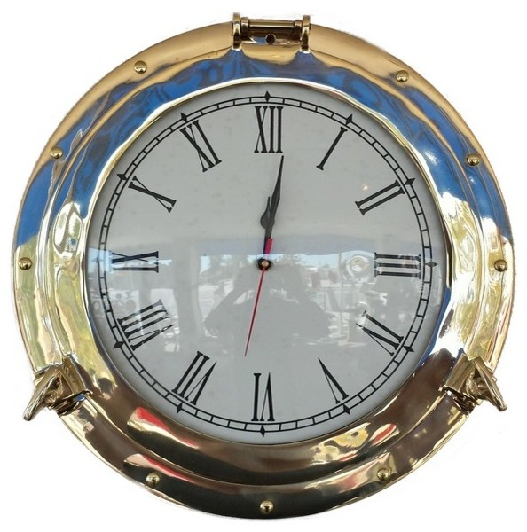 Porthole Decorative Wall Clock Brass 12 Beach Style Wall Clocks