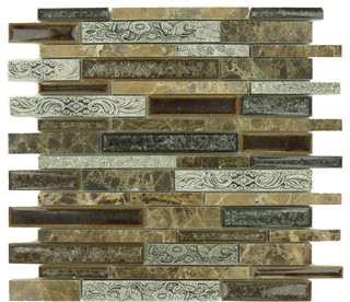 Brown Polished Glass and Stone - Modern - Mosaic Tile - by Glass Tile ...