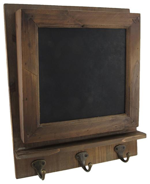 Rustic Wooden Chalkboard Wall Memo Holder w/ Key Hooks rustic-bulletin ...