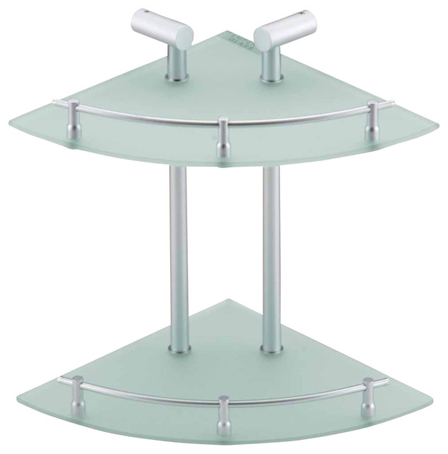 Glass Shelves Clear Glass Stainless Two Tier Glass Corner Shelf Transition