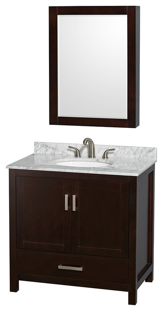 Vanity, Carrera Marble Top, Round Sink transitionalbathroomvanities