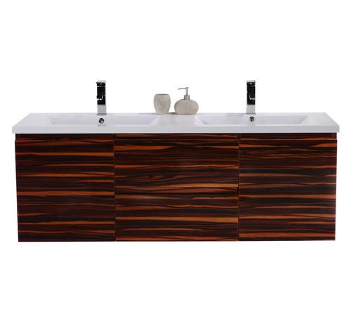 Moreno Mob  Double Sink Wall Mounted Bathroom Vanity High Gloss