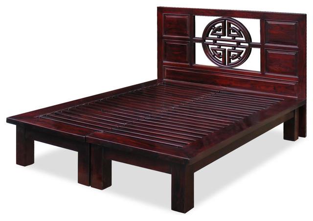 Elmwood yuan yuan queen platform bed dark cherry asiatique lit plateforme par china - Tete cherry bed ...