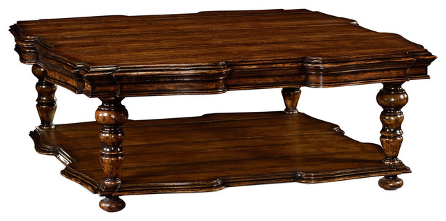 Jonathan Charles Square Rustic Walnut Coffee Table 495305 Rwl Traditional Coffee Tables By