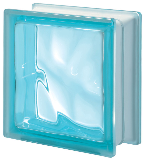 Q19 Glass Block Aquamarine Wavy Contemporary Wall