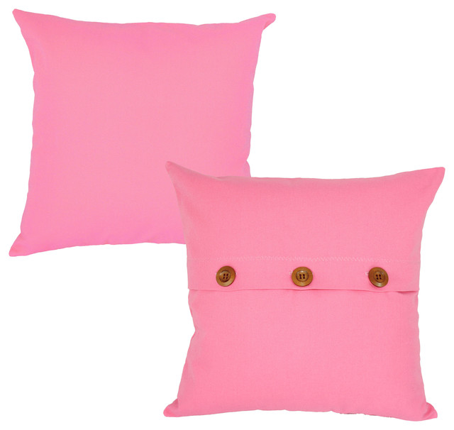 Pink Throw Pillow Cover Set 18x18 Solid Color Square Shams - Contemporary - Pillowcases And ...