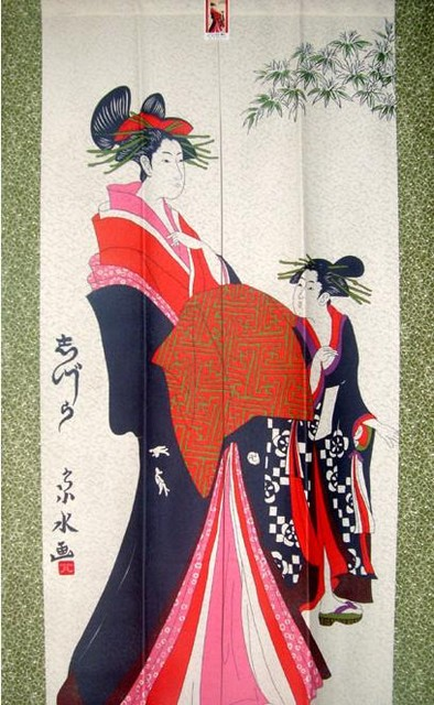 Japanese Geisha Noren Doorway Curtain - Modern ...