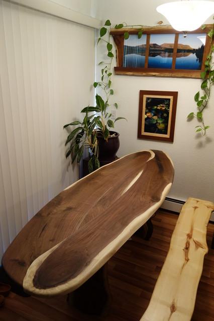 oval walnut table rustic dining tables denver by turner custom frames and woodworks. Black Bedroom Furniture Sets. Home Design Ideas