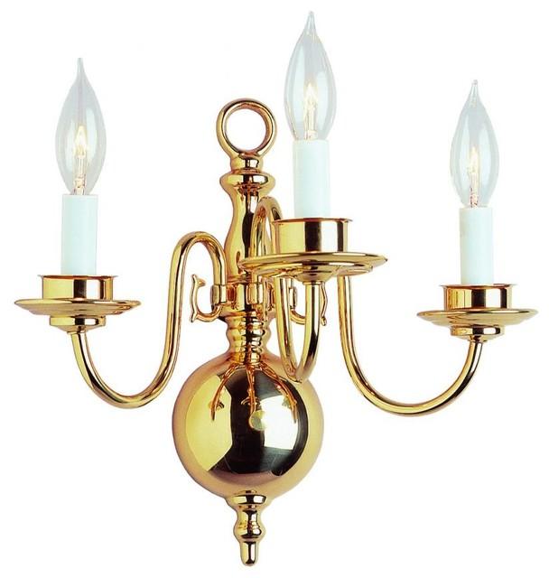 Three Light Polished Brass Wall Light - Traditional - Wall Sconces - by We Got Lites
