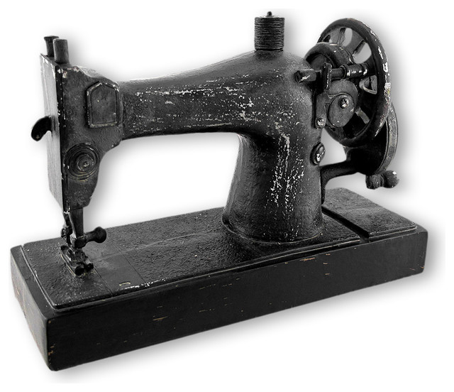 Black 1920`s Sewing Machine Distressed Finish - Traditional - Decorative Objects And Figurines ...