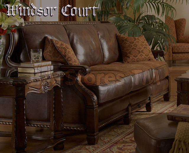 Michael amini wood trim leather fabric sofa opt1 for Traditional leather sofas furniture