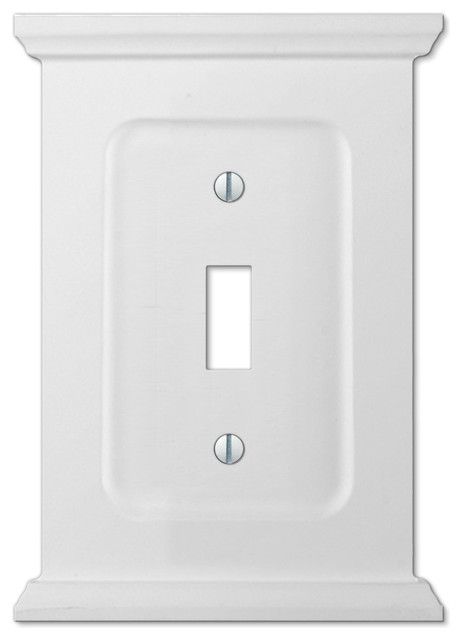 Mantel White Wood 1 Toggle Wall Plate Traditional