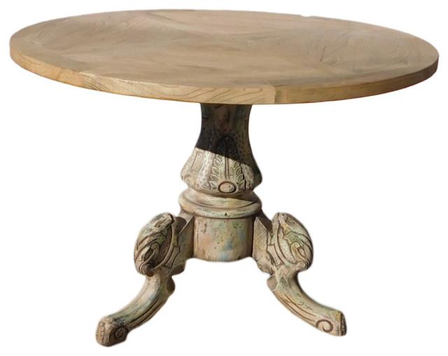 Chinese Raw Natural Wood Tri Legs Base Round Pedestal